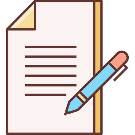 Flat vector icon illustration of pen and paper. Write concept.