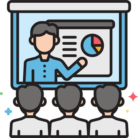 Vector outline icon illustration of people watching video conference on the screen