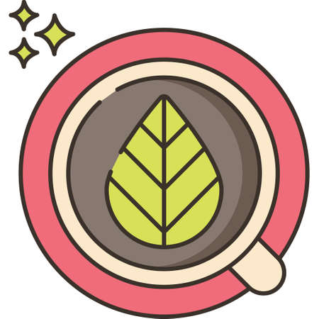 Line vector icon illustration of green tea leaf floating on cup