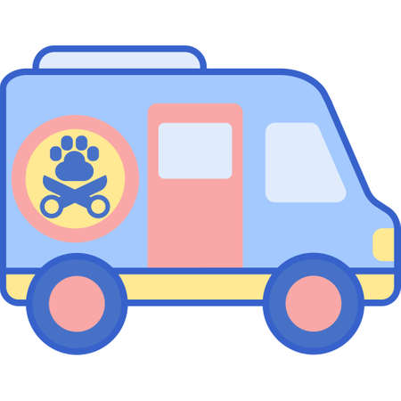 Vector flat icon of a van with paw and shears symbol. Mobile pet grooming illustration concept.