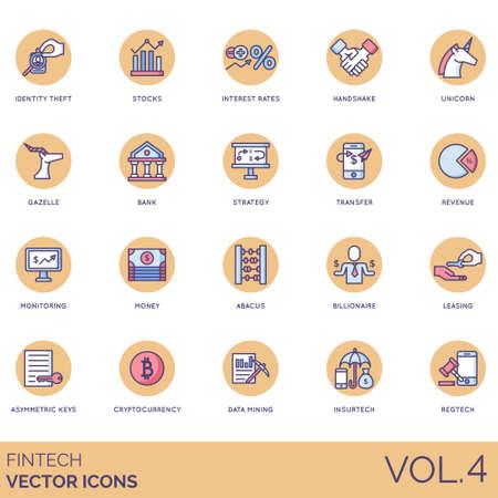 Fintech icons including identity theft, stocks, interest rate, handshake, unicorn, gazelle, bank, strategy, transfer, revenue, monitoring, money, abacus, billionaire, leasing, asymmetric key, cryptocurrency, data mining, insurtech, regtech. Ilustrace