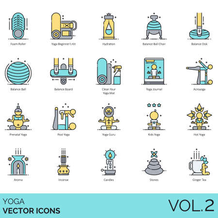 Yoga icons including foam roller, beginner kit, hydration, balance ball chair, disk, board, clean your mat, journal, acroyoga, prenatal, post, guru, kids, hot, aroma, incense, candle, stone, ginger tea. Illustration