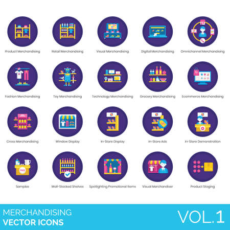 Merchandising icons including product, retail, visual, digital, omnichannel, fashion, toy, technology, grocery, ecommerce, cross, window display, in store ads, demonstration, sample, well stocked shelves, spotlighting promotional item, merchandiser, staging.