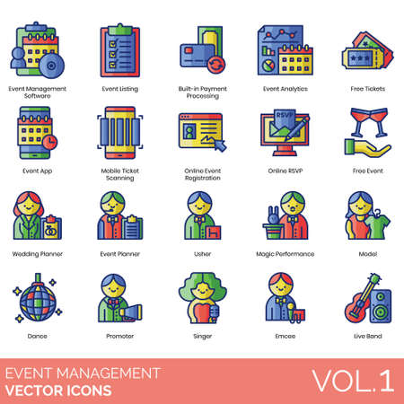 Event management icons including software, listing, built in payment processing, analytics, free ticket, app, mobile scanning, online registration, rsvp, wedding, planner, usher, magic performance, model, dance, promoter, singer, emcee, live band.