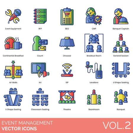 Event management icons including equipment, rfp, beo, cmp, banquet captain, continental breakfast, count, dressed, breakout room, general session, air walls, av, isp, lavaliere, u shape seating, v shape, classroom, theatre, boardroom.