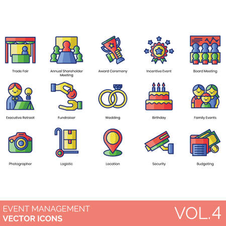Event management icons including trade fair, annual shareholder, award ceremony, incentive, board meeting, executive retreat, fundraiser, wedding, birthday, family, photographer, logistic, location, security, budgeting.