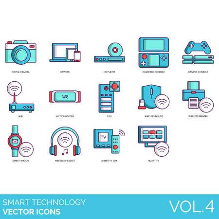 Intelligente Technologiesymbole wie Digitalkamera, Geräte, CD-Player, Handheld-Konsole, Spiele, WLAN, VR, CPU, drahtlose Maus, Drucker, Uhr, Headset, TV-Box. Vektorgrafik