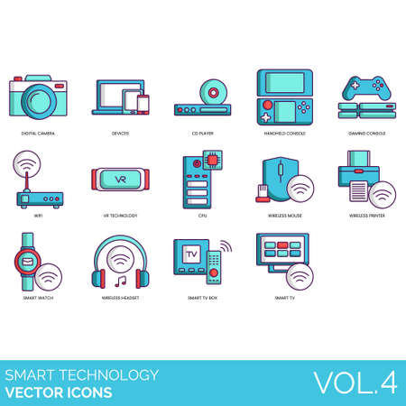 Smart technology icons including digital camera, devices, CD player, handheld console, gaming, wifi, VR, CPU, wireless mouse, printer, watch, headset, TV box. Ilustração Vetorial