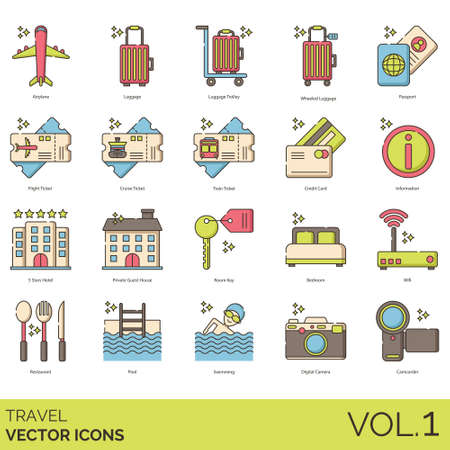 Travel icons including airplane, luggage, trolley, wheeled, passport, flight ticket, cruise, train, credit card, information, 5 stars hotel, private guest house, room key, bedroom, wifi, restaurant, pool, swimming, digital camera, camcorder.