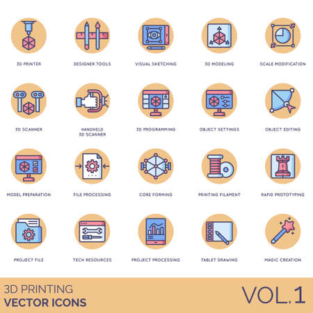 3D printing icons including printer, designer tools, visual sketching, modeling, scale modification, handheld scanner, programming, object settings, editing, model preparation, file processing, core forming, filament, rapid prototyping, project, tech resources, tablet drawing, magic creation.