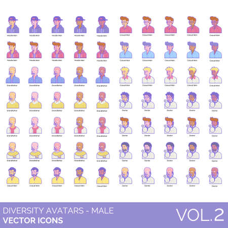 Male diversity avatars set including hoodie man, grandfather, casual, doctor. Different style of people portrait and user profile picture. Flat vector character illustration. 矢量图像