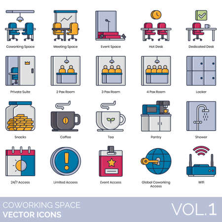 Coworking space icons including meeting, event, hot desk, dedicated, private suite, pax room, locker, snacks, coffee, tea, pantry, shower, 24 7 access, limited, global, wifi. Ilustração