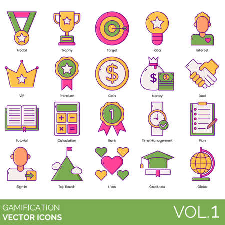 Gamification icons including medal, trophy, target, idea, interest, VIP, premium, coin, money, deal, tutorial, calculation, rank, time management, plan, sign in, top reach, likes, graduate, globe. Banque d'images - 132105773