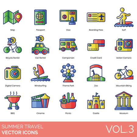 Summer travel icons including map, passport, visa, boarding pass, surf, bicycle rental, car, campervan, credit card, action camera, digital, windsurfing, theme park, zoo, mountain biking, BBQ, cinema, picnic, castle, museum.