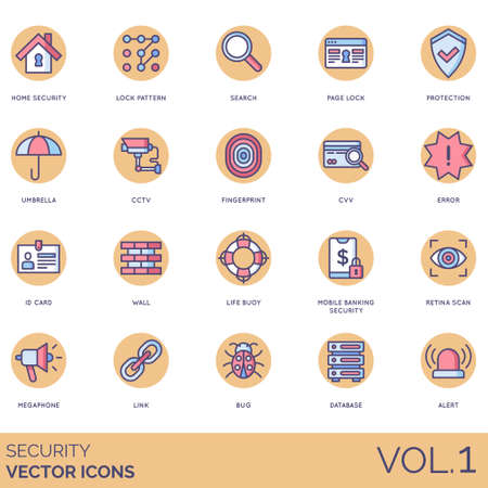 Security icons including home, lock pattern, search, page, protection, umbrella, cctv, fingerprint, cvv, error, id card, wall, life buoy, mobile banking, retina scan, megaphone, link, bug, database, alert.
