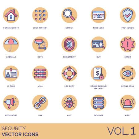 Security icons including home, lock pattern, search, page, protection, umbrella, cctv, fingerprint, cvv, error, id card, wall, life buoy, mobile banking, retina scan, megaphone, link, bug, database, alert.
