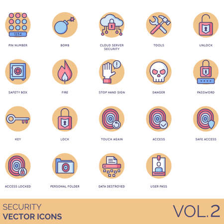 Security icons including pin number, bomb, cloud server, tools, unlock, safety box, fire, stop hand sign, danger, password, key, lock, touch again, access, safe, personal folder, data destroyed, user pass.