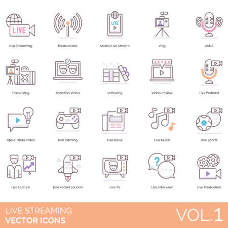 Live streaming icons including broadcaster, mobile stream, vlog, ASMR, travel, reaction video, unboxing, review, podcast, tips and tricks, gaming, news, music, sports, lecture, rocket launch, TV, interview, production.