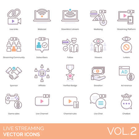 Live streaming icons including links, webcast, downlink and stream, mukbang, platform, community, subscribers, follow, viewers, lurkers, sponsor, affiliate, verified badge, donation, ad revenue, game sales, channel, rules, chat, chatbot.