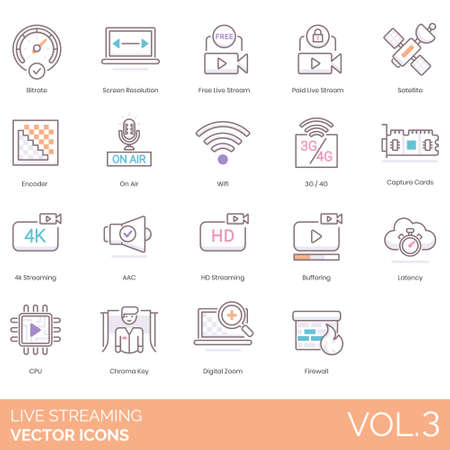 Live streaming icons bitrate, screen resolution, free stream, paid, satellite, encoder, on air, wifi, 3G, 4G, capture cards, 4K, AAC, HD, buffering, latency, CPU, chroma key, digital zoom, firewall.