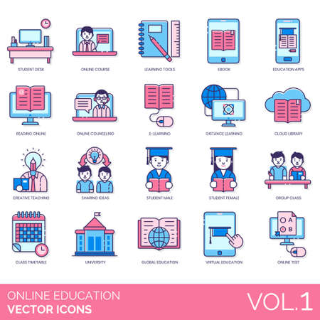 Online education icons including student desk, course, learning tools, ebook, app, reading, counseling, e-learning, distance, cloud library, creative teaching, sharing ideas, male, female, group class, timetable, university, global, virtual, test.