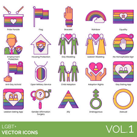 LGBT+ icons including pride parade, flag, bracelet, rainbow, equality, employment protection, housing, gay wedding, lesbian, no homophobia sign, anti activist, open military service, child adoption, rights, dating app, gender affirmation surgery, ally, androgynous, asexual.
