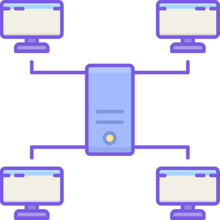 Flat vector icon illustration of LAN local area network. Four computers connected to a server. Illustration