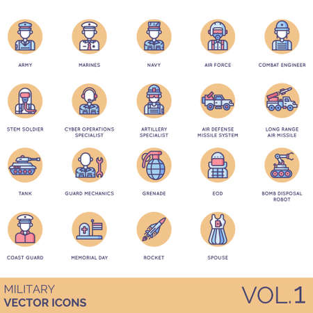 Military icons including army, marines, navy, air force, combat engineer, stem soldier, cyber operation specialist, artillery, defense missile system, long range, tank, mechanics, grenade, EOD, bomb disposal robot, coast guard, memorial day, rocket, spouse. Imagens - 132106547