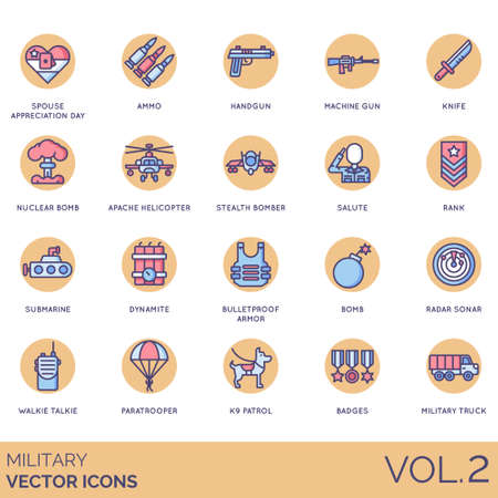 Military icons including spouse appreciation day, ammo, handgun, machine gun, knife, nuclear bomb, apache helicopter, stealth bomber, salute, rank, submarine, dynamite, bulletproof armor, radar sonar, walkie talkie, paratrooper, K9 patrol, badges, truck.