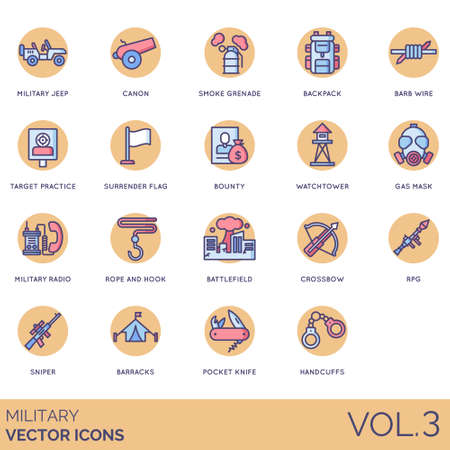 Military icons including jeep, canon, smoke grenade, backpack, barb wire, target practice, surrender flag, bounty, watchtower, gas mask, radio, rope and hook, battlefield, crossbow, RPG, sniper, barracks, pocket knife, handcuffs.