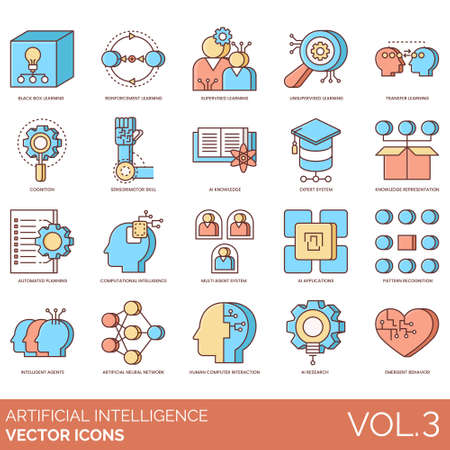 Artificial intelligence icons including black box learning, reinforcement, supervised, unsupervised, transfer, cognition, sensorimotor skill, ai knowledge, expert system, representation, automated planning, computational, multi agent, application, pattern recognition, intelligent, neural network, human computer interaction, research, emergent behavior.