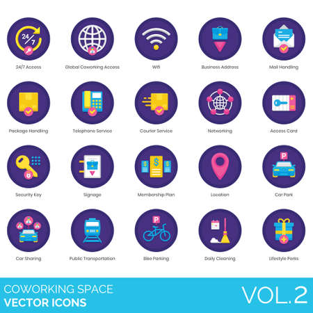 Coworking space icons including 24 7 access, global, wifi, business address, mail handling, package, telephone service, courier, networking, card, security key, signage, membership plan, location, car sharing, public transportation, bike parking, daily cleaning, lifestyle perks.