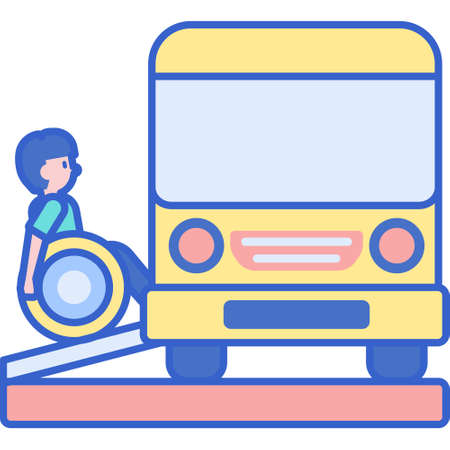 Flat vector icon illustration of a disabled passenger entering the wheelchair accessible bus