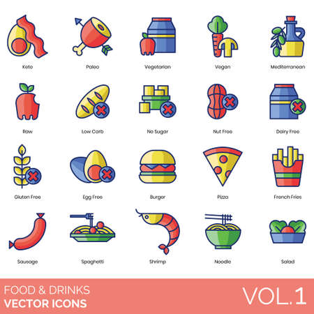 Food and drinks icons including keto, paleo, vegetarian, vegan, mediterranean, raw, low carb, no sugar, nut free, dairy, gluten, egg, burger, pizza, french fries, sausage, spaghetti, shrimp, noodle, salad.