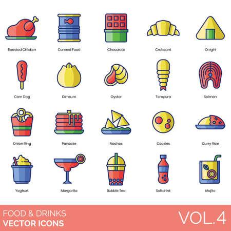 Food and drinks icons including roasted chicken, canned, chocolate, croissant, onigiri, corn dog, dim sum, oyster, tempura, salmon, onion ring, pancake, nachos, cookies, curry rice, yoghurt, margarita, bubble tea, soft, mojito.