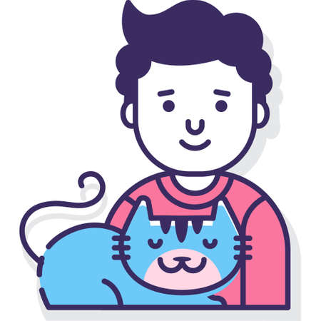 Flat vector icon illustration of pet adoption. Male adopting adorable cat. Veterinary and animal care concept.