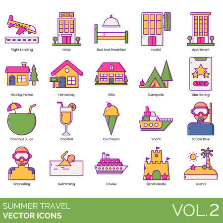 Summer travel icons including flight landing, hotel, bed and breakfast, hostel, apartment, holiday home, homestay, villa, campsite, star rating, coconut juice, cocktail, ice cream, yacht, scuba dive, snorkeling, swimming, cruise, sand castle, island.