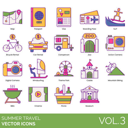 Summer travel icons including map, passport, visa, boarding pass, surf, bicycle rental, car, campervan, zoo, action camera, digital, windsurfing, theme park, castle, mountain biking, BBQ, cinema, picnic, museum.