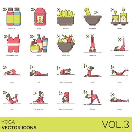 Yoga icons including essential oil, tea box, succulent, mortar bowl, candle, sports bra, pants, lotion, healthy food, headstand, shoulderstand, plough, fish, sitting forward bend, cobra, locust, bow, half spinal twist, standing, triangle, corpse. 写真素材 - 131438168
