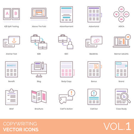 Copywriting icons including A/B split testing, above the fold, advertisement, advertorial, AIDCA, anchor text, b2b, b2c, backlink, banner advert, benefit, blog, body copy, bonus, brand, brief, brochure, action, call out, case study.