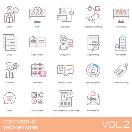 Icone di copywriting tra cui client, CMS, garanzia, content marketing, conversione, lunghezza della copia, copywriter, azienda, cliente, scadenza, decisore, dati demografici, tag descrittivo, desiderio, differenziazione, risposta diretta, e-newsletter.