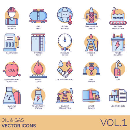Oil and gas icons including industry worker, global warming, transmission tower, factory production, station, storage tank, pressure meter, drilling rig, power, environmental pollution, fossil fuel, deal, pipeline, nuclear plant, pump, hydro, logistics data. 向量圖像