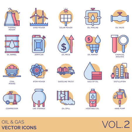 Oil and gas icons including thermal power, wind, solar, pipeline, valve, barrel, jerrycan, price, market, chemical analysis, coal mining, atom, gasoline truck, sale, distillation, compressor, LNG storage, spill, vegetable, hand pump.