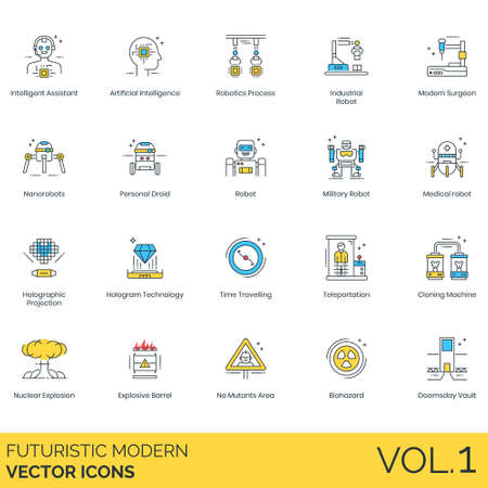Futuristic modern icons including intelligent assistant, artificial intelligence, robotics process, industrial robot, surgeon, nanorobots, personal droid, military, medical, holographic projection, hologram technology, time traveling, teleportation, cloning machine, nuclear explosion, explosive barrel, no mutants area, biohazard, doomsday vault.