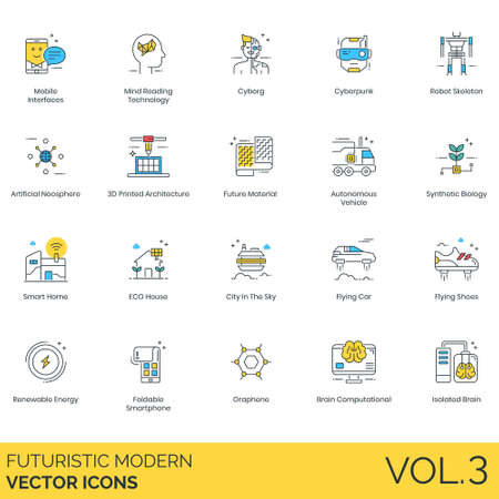 Futuristic modern icons including mobile interface, mind reading technology, cyborg, cyberpunk, robot skeleton, artificial noosphere, 3D printed architecture, future material, autonomous vehicle, synthetic biology, smart home, eco house, city in the sky, flying car, shoes, renewable energy, foldable smartphone, graphene, brain computational, isolated. Ilustração