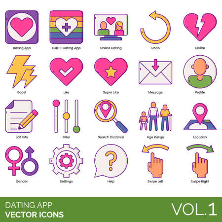 Dating app icons including LGBT+, online, undo, dislike, boost, super like, message, profile, edit info, filter, search distance, age range, location, gender, settings, help, swipe left, right. 版權商用圖片 - 132106629