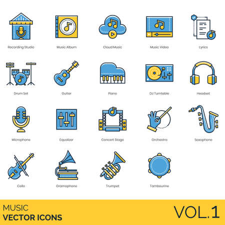 Music icons including recording studio, album, cloud, video, lyrics, drum set, guitar, piano, DJ turntable, headset, microphone, equalizer, concert stage, orchestra, saxophone, cello, gramophone, trumpet, tambourine.