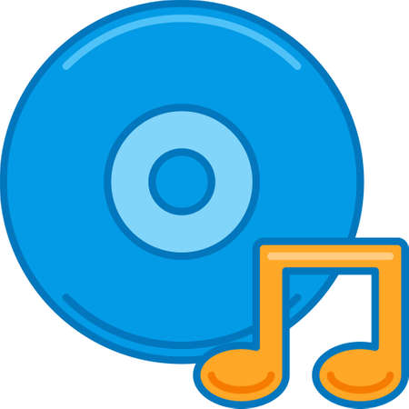 Vector flat icon illustration of vinyl record disc and musical note. Music album concept for story highlights cover.
