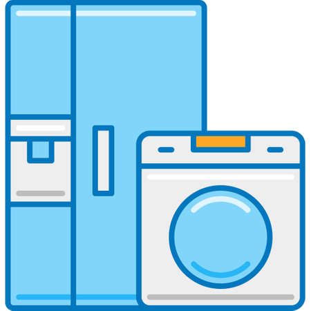 Flat vector icon illustration of home appliances. Refrigerator and laundry machine. Story highlights cover concept. 向量圖像