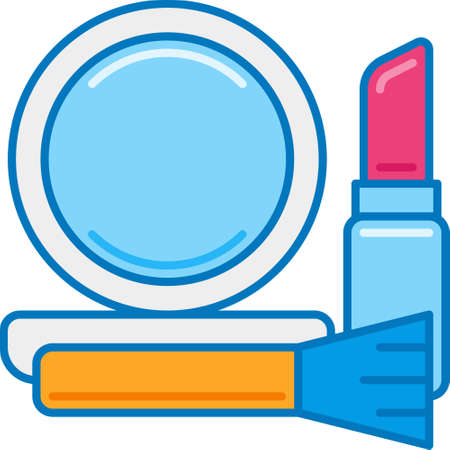 Vector flat icon illustration of face powder, makeup brush, lipstick. Cosmetics concept for story highlights cover.